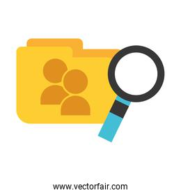 folder file magnifying glass big data security