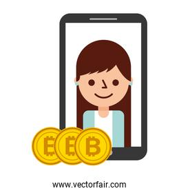 smartphone woman bitcoins cryptocurrency fintech