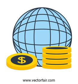 world planet with dollar coins money trade