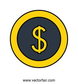 dollar coin money currency icon