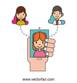 hand holding smartphone woman on screen social media