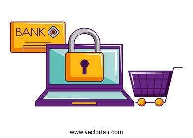 online shopping laptop security cart credit card