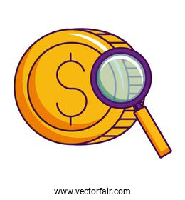 dollar coin money currency magnifying glass