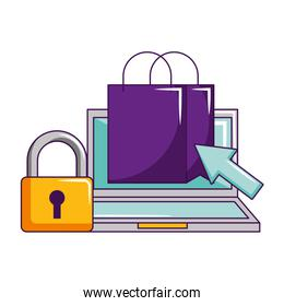 laptop online shopping bag click security