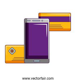 smartphone online shopping bank cards