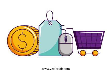 online shopping cart coin money tag price