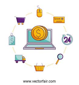laptop online shopping coin ecommerce isolated