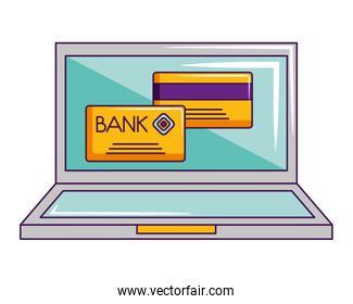 laptop computer online shopping bank cards