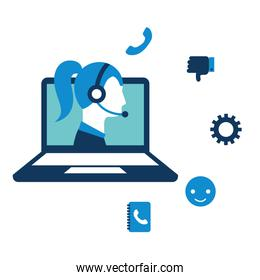 call center girl laptop service isolated