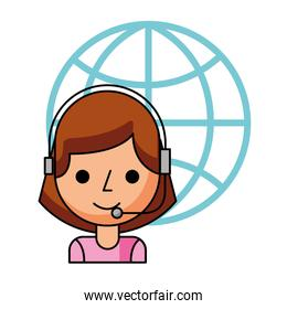 call center girl with headset and world