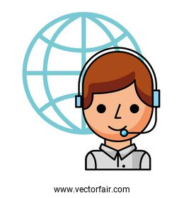 call center boy with headset and world
