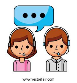 call center girl and boy with speech bubble