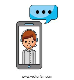 call center boy in smartphone support