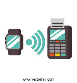 dataphone and smartwatch connection nfc payment
