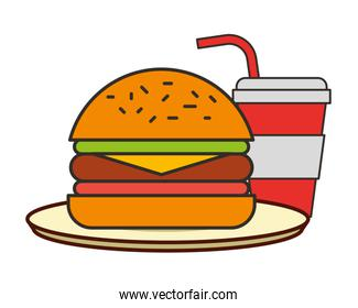 burger and soda with straw fast food