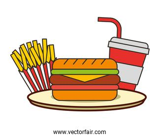 burger french fries and soda with straw fast food