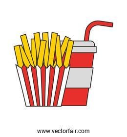 french fries and soda cup fast food