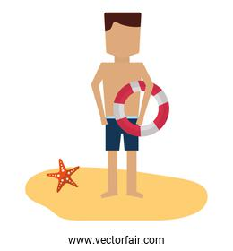 man with short swimsuit float on the beach
