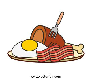 fried egg bacon and chicken on plate