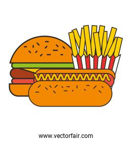 burger hot dog and french fries fast food