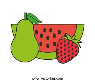 watermelon pear and strawberry fresh