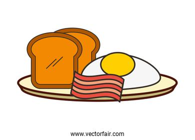 fried eggs bread toast and bacon breakfast