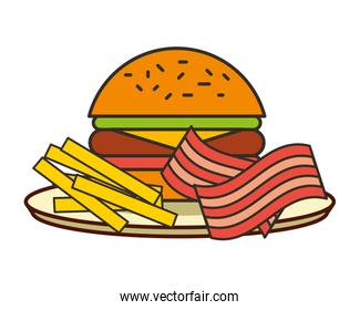 burger french fries and bacon fast food