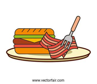 burger bacon with fork on dish fast food