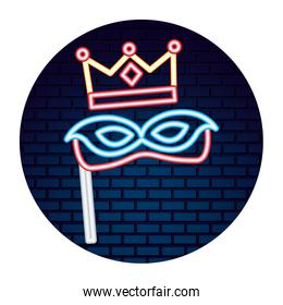 party mask crown neon brick wall