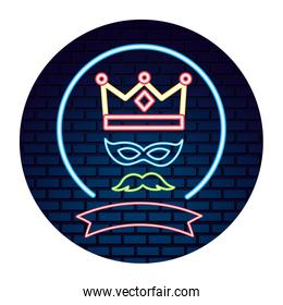 party crown mustache mask neon brick wall