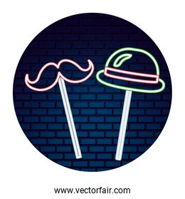 party hat mustache neon brick wall