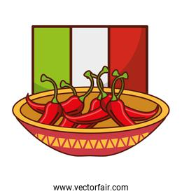 bowl with chili pepper flag mexican food traditional