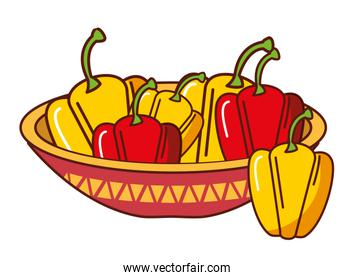 bell peppers in bowl mexican food traditional