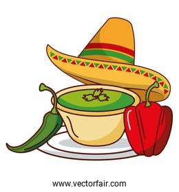 chili pepper guacamole hat mexican food traditional