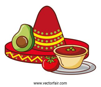 avocado tomato and hat mexican food traditional