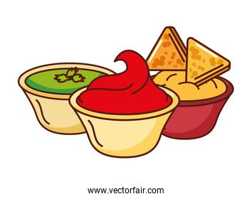 nachos cheese guacamole and chili mexican food traditional