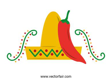 mexican hat and chili pepper