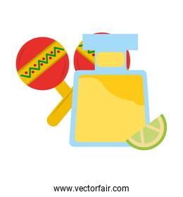 tequila drink bottle and maracas mexican