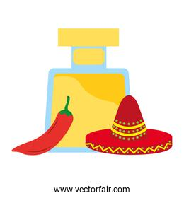 tequila bottle drink chili pepper and hat mexican