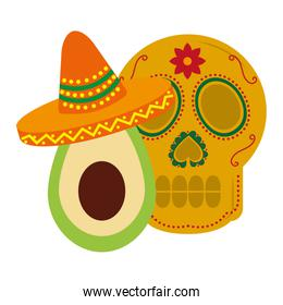 mexican skull avocado and hat mexican