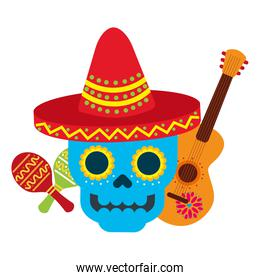 mexican skull with hat guitar and maracas