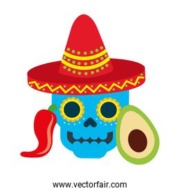 mexican skull with hat avocado and chili pepper