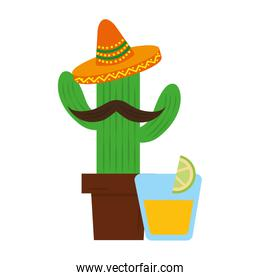 cactus cartoon with hat tequila drink mexican