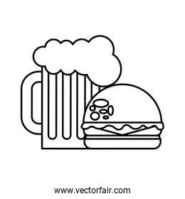burger beer glass fast food