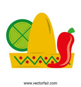mexican hat chili pepper and lemon