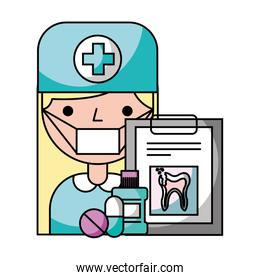 dentist woman clipboard and pills hygiene dental