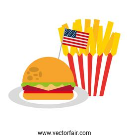 burger and french fries flag american food celebration