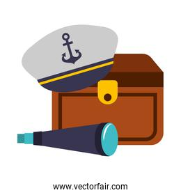 treasure chest hat and spyglass marine