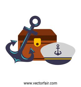treasure chest anchor and hat emblem