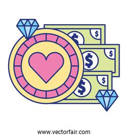 heart chip banknote money casino game bet
